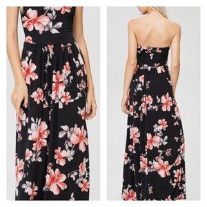 52c3eafa0b1 SwankStyles Dresses - Black Tropical Floral Tube Top Maxi Dress